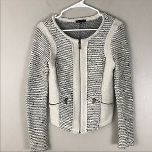 Drew black cream tweed Moto sweater jacket xs